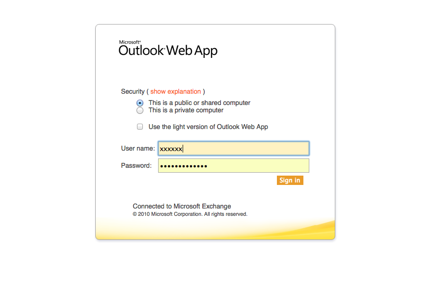 old login screen for outlook web app
