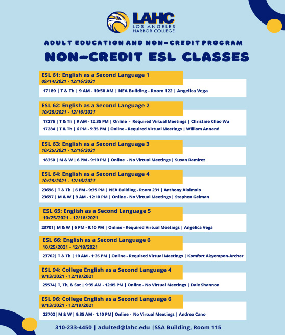 adult non credit fall 2021 lat start classes flyer graphic