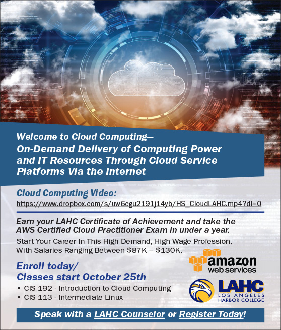 lahc aws cloud computing fall 2021 flyer graphic