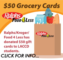 50 dollar grocery cards from raplhs and food for less to laccd students