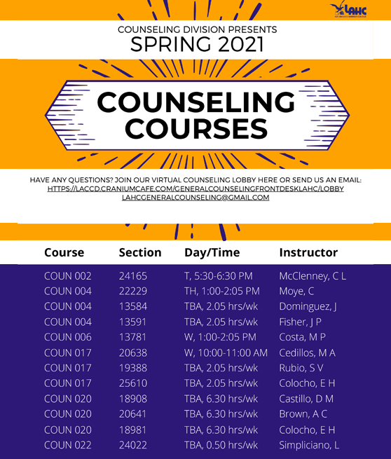 spring counseling courses graphic